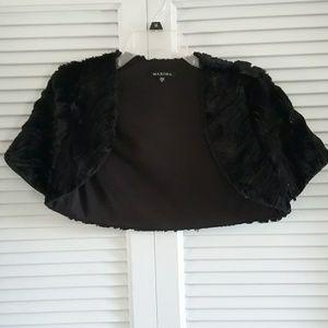 Marina black faux fur dressy shrug jacket . Sz S